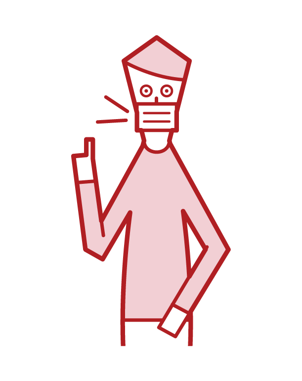 Illustration of a man wearing a mask and speaking