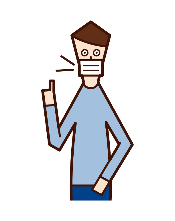 戴口罩說話的人(男性)的插圖