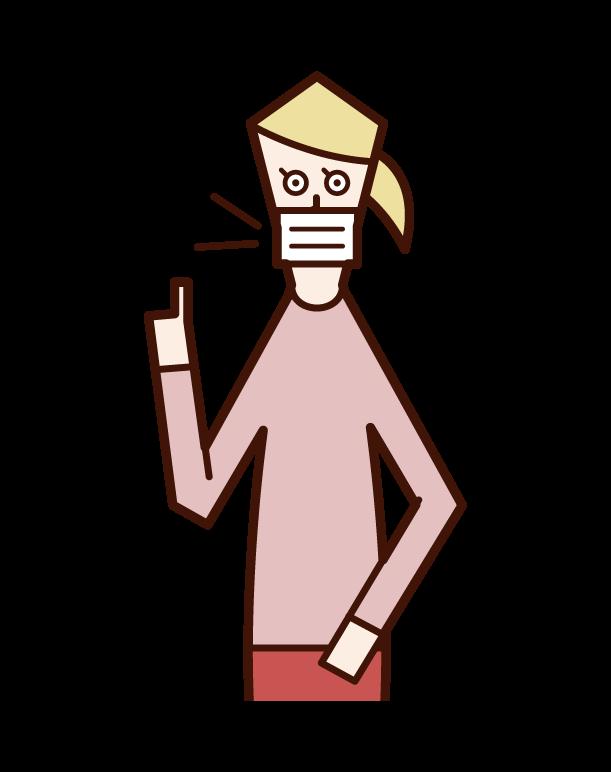 戴口罩說話的人(女性)的插圖