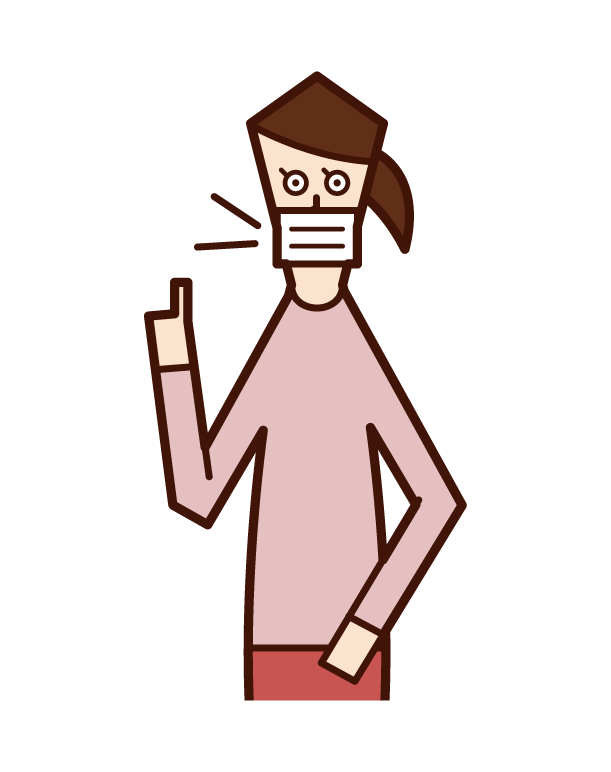 마스크를 쓰고 있는 사람(여자)의 일러스트