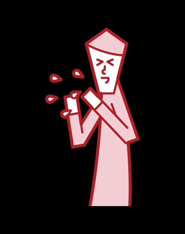 くしゃみをする人(男性)のイラスト
