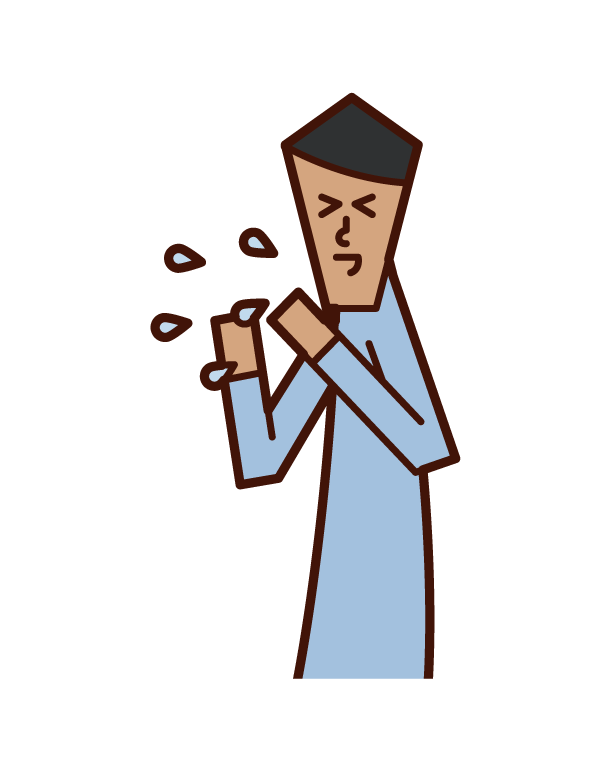 Illustration of a sneezing person (man)