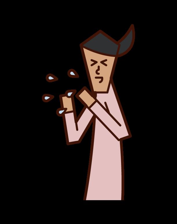 打噴嚏的人(女性)的插圖