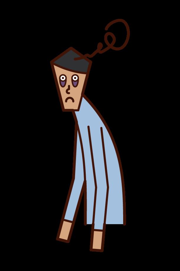 睡眠不足的人(男性)的插圖