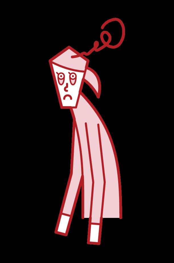 寝不足の人(女性)のイラスト