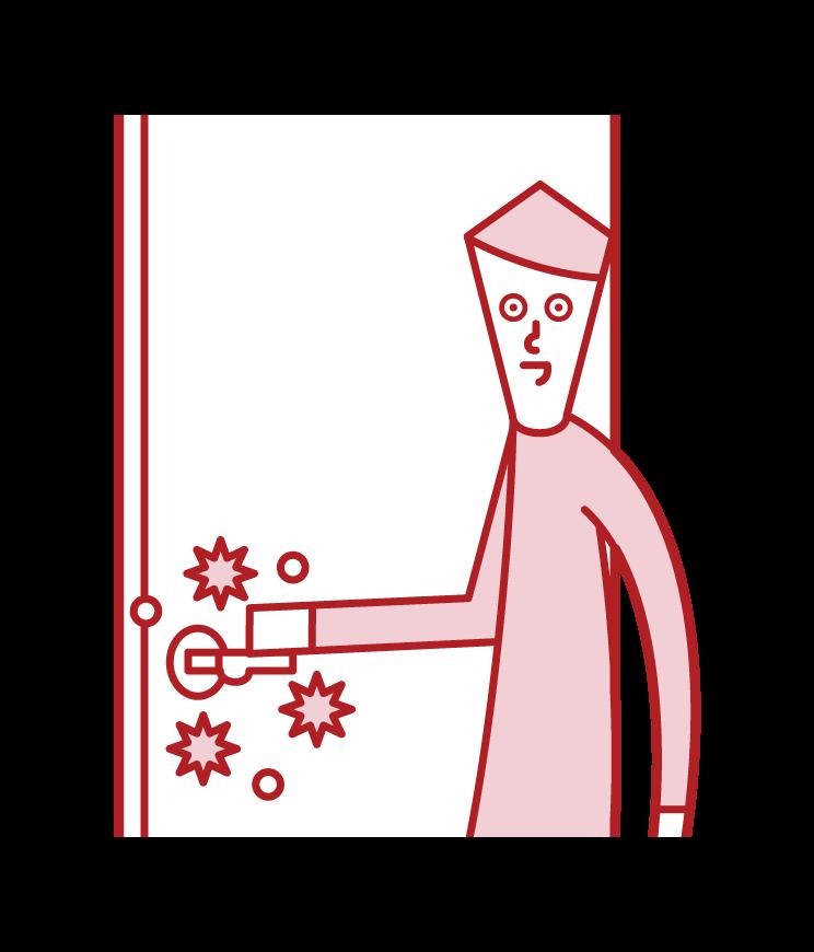 사물에서 바이러스 감염 (남성)의 그림