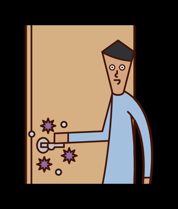 病毒感染(男性)的插圖