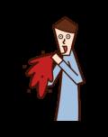 血を吐く人(男性)のイラスト