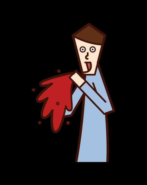 吐血的人(男性)的插圖