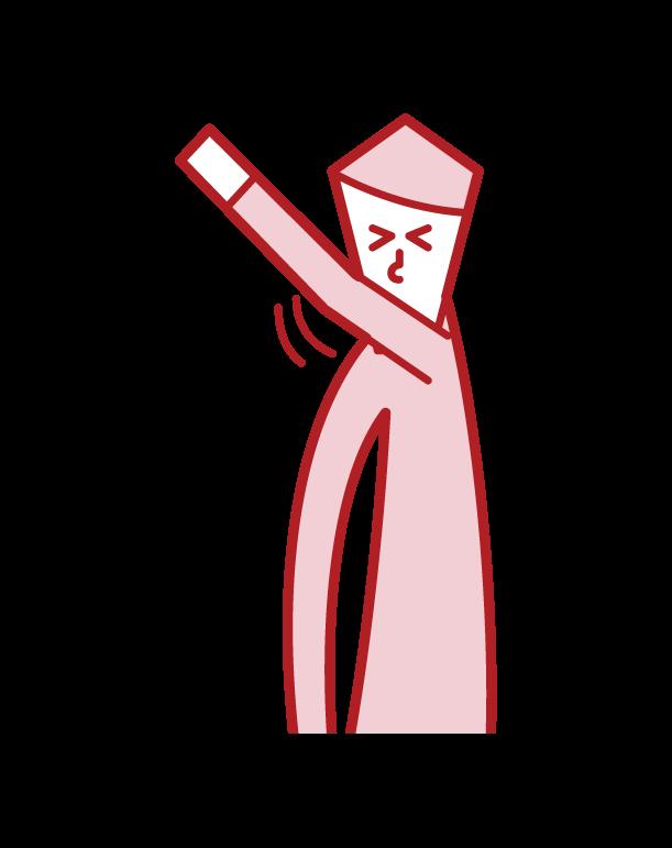 肘でくしゃみ・咳をおさえる人(男性)のイラスト