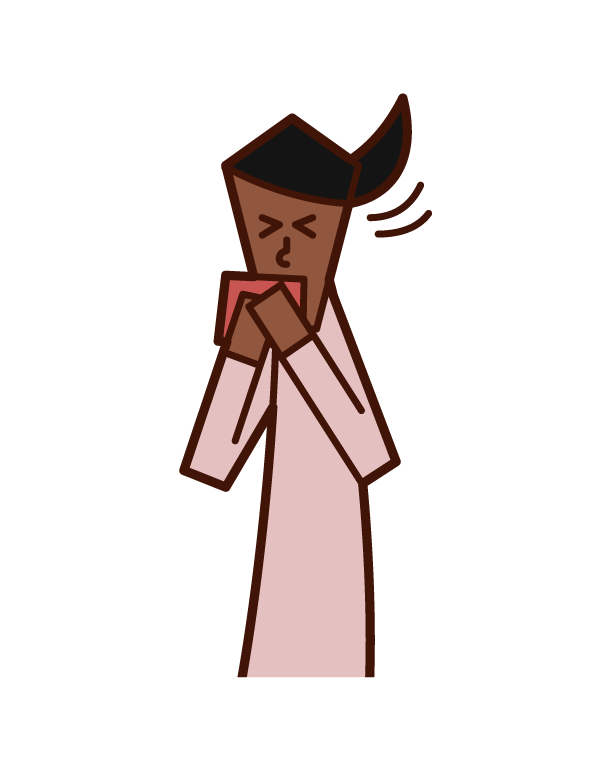 Illustration of a person (woman) sneezing and coughing with a handkerchief