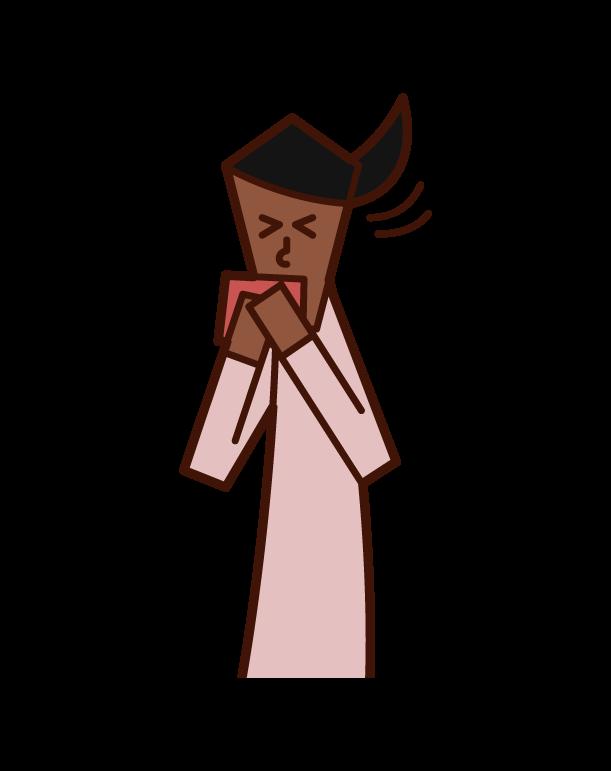 ハンカチでくしゃみ・咳をおさえる人(女性)のイラスト