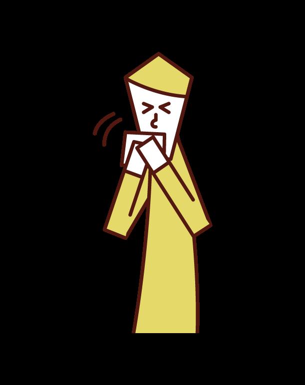 ハンカチでくしゃみ・咳をおさえる人(男性)のイラスト