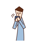 Illustration of a man sneezing and coughing with a handkerchief