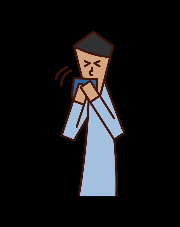 손수건으로 재채기와 기침을 하는 남자의 일러스트