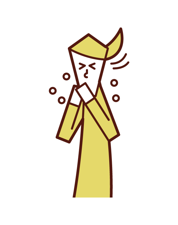 手でくしゃみ・咳をおさえる人(女性)のイラスト