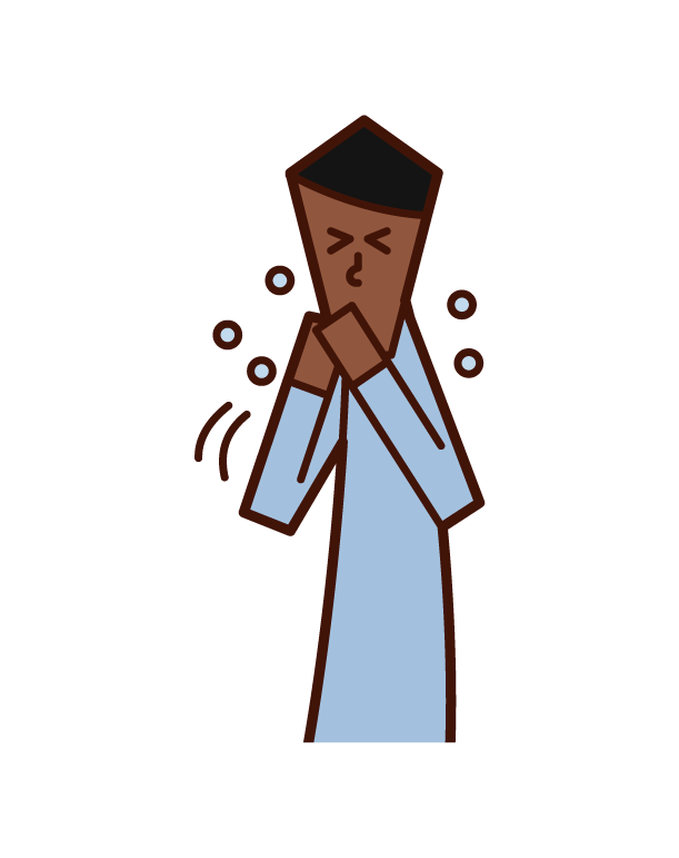 Illustration of a man sneezing and coughing with his hands