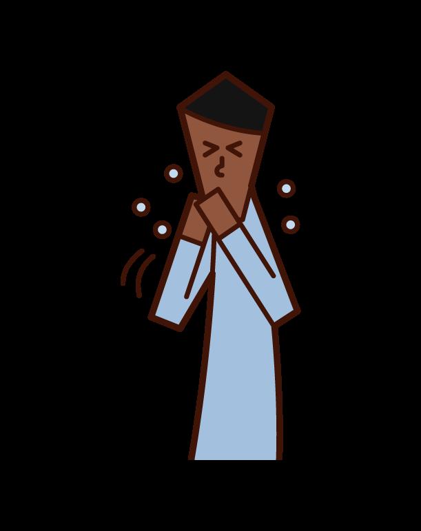 手でくしゃみ・咳をおさえる人(男性)のイラスト