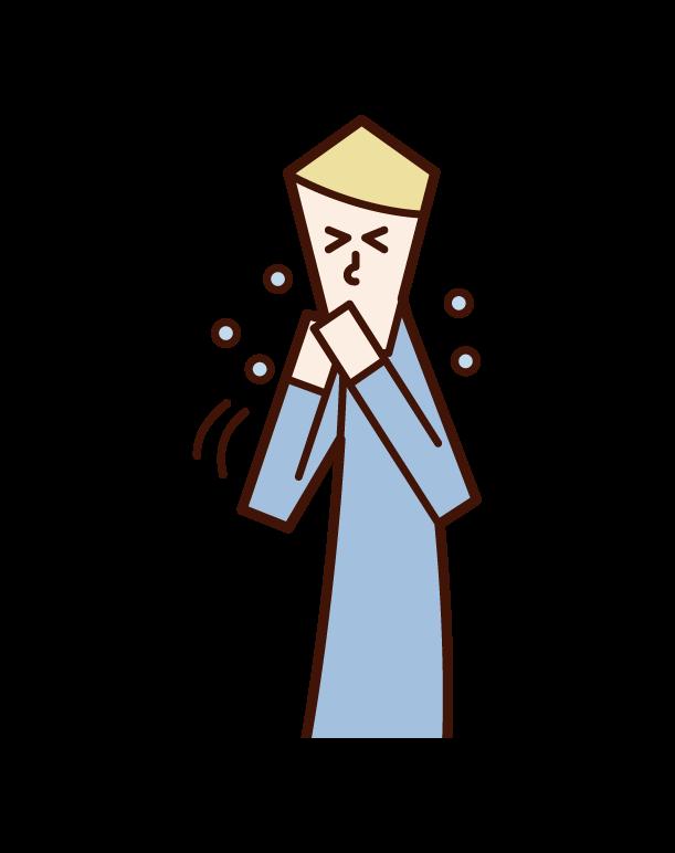 손으로 재채기와 기침을 하는 남자의 일러스트