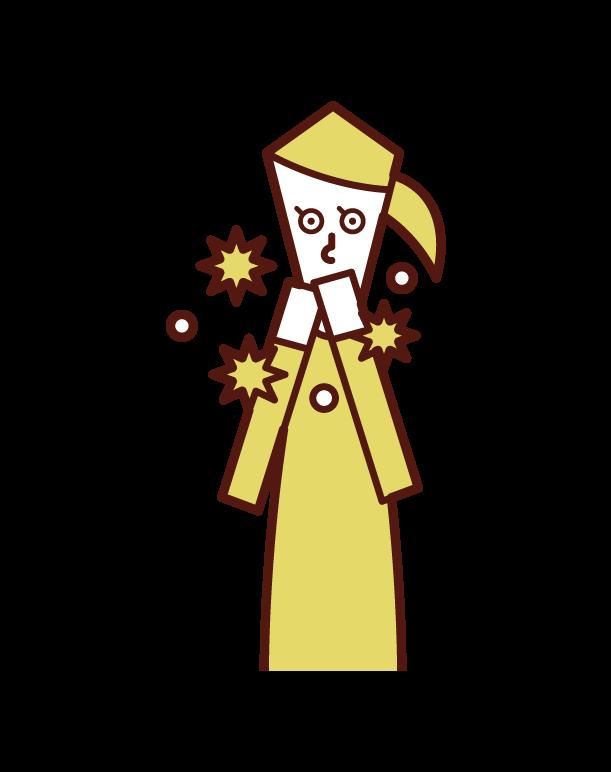 手摸嘴感染病毒的人(女性)的插圖