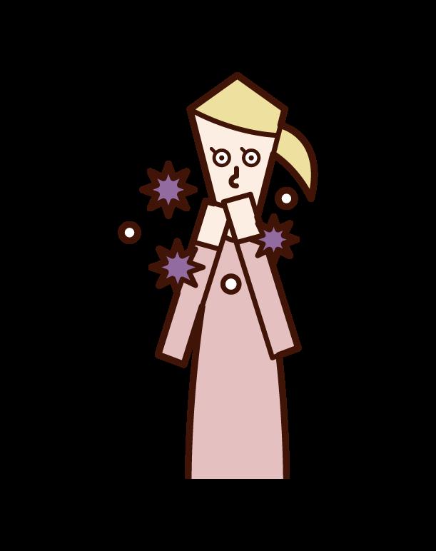 手で口を触ってウィルスに感染する人(女性)のイラスト