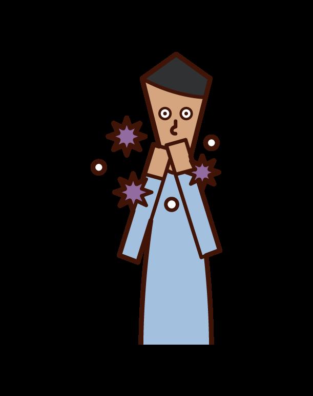 用手觸摸嘴巴感染病毒的人(男性)的插圖