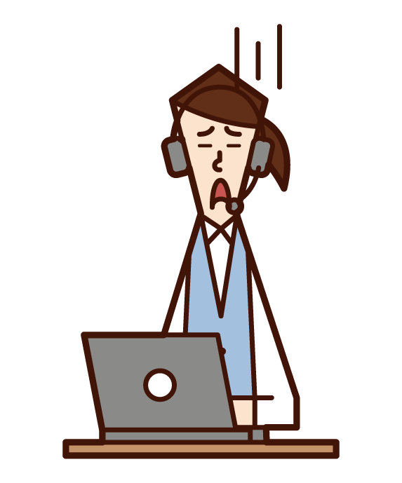Illustration of customer support telephone operator call center (female) in need