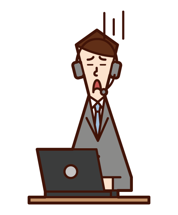 Illustration of customer support telephone operator call center (male) in need