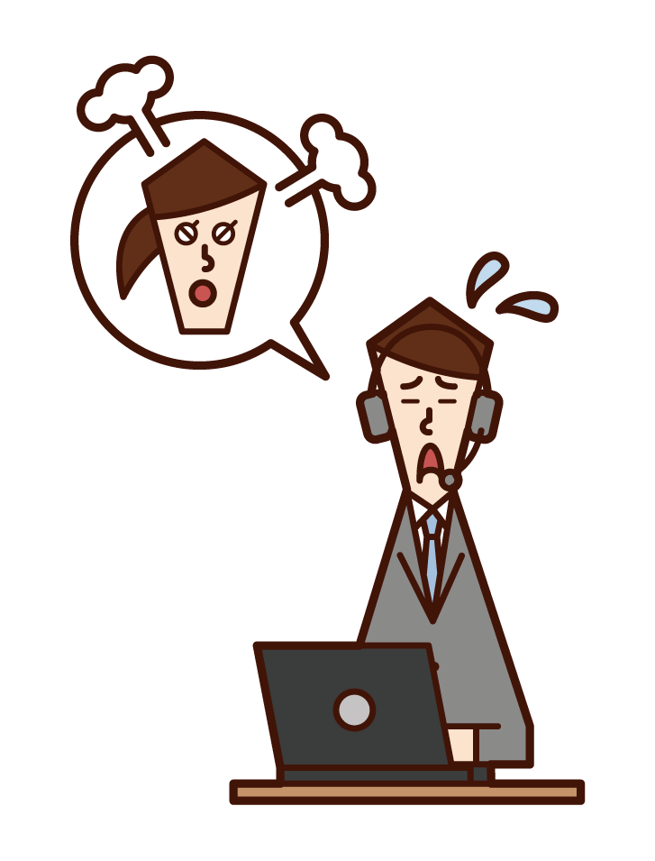 Illustration of customer support telephone operator call center (male) listening to complaints