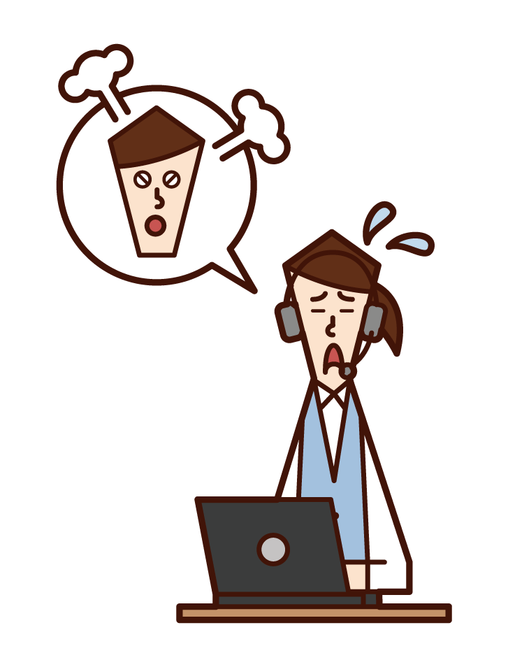 Illustration of customer support telephone operator call center (female) hearing complaints