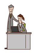 Illustration of a boss (woman) talking to a subordinate