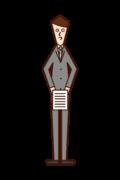 書類を提出する人(男性)のイラスト