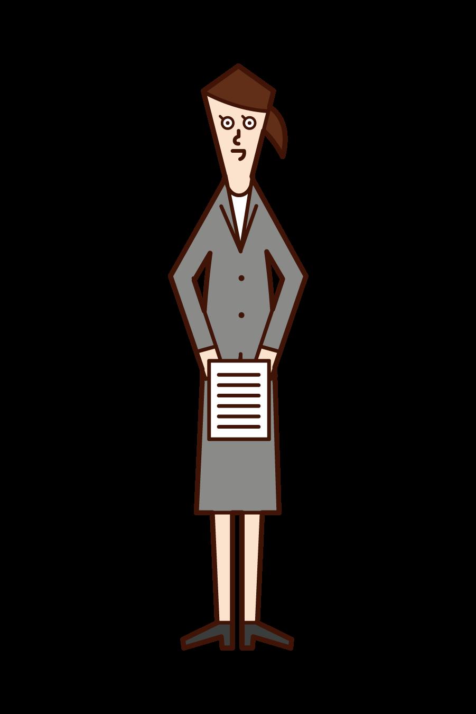 문서를 제출하는 사람(여성)의 일러스트