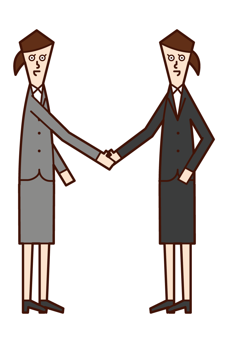 Illustration of a woman shaking hands