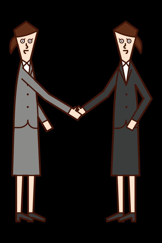 握手する人(女性)のイラスト