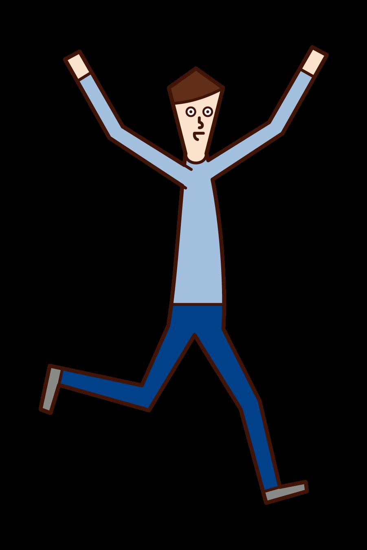 両手を広げて走る人(男性)のイラスト