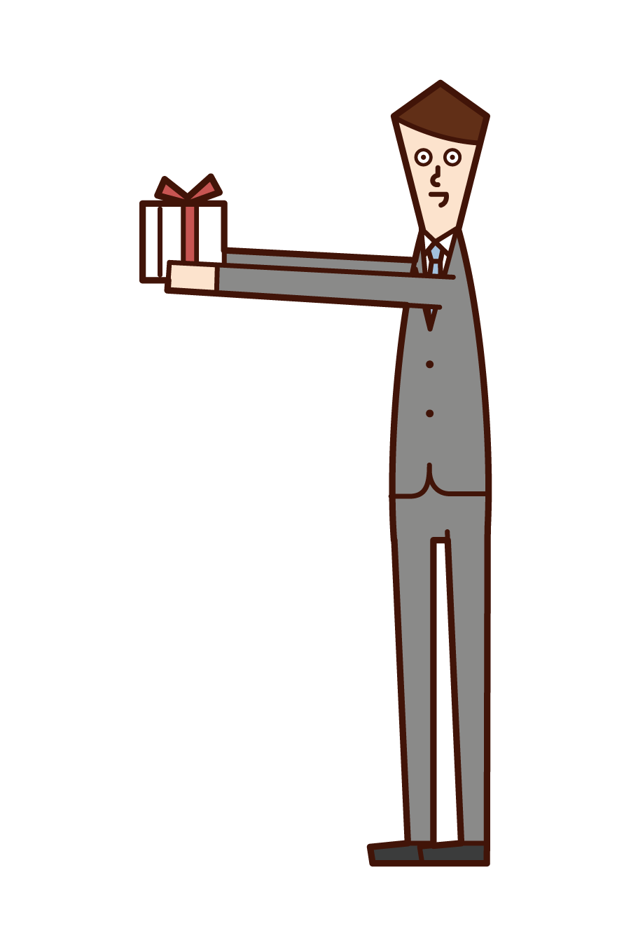 Illustration of a man giving a present