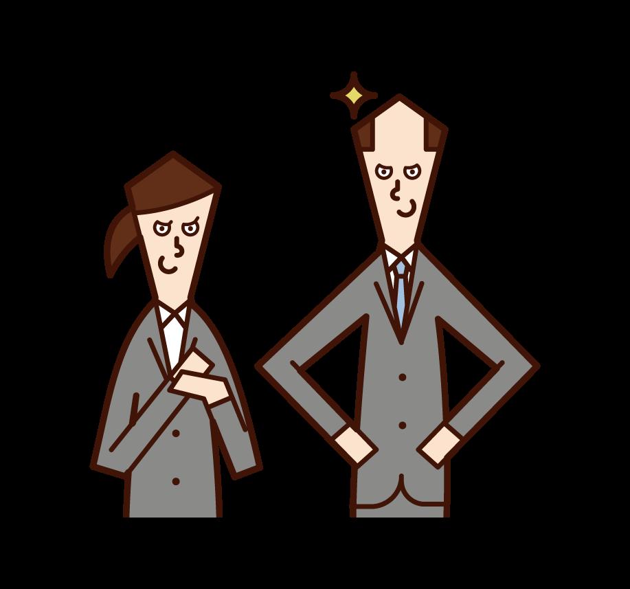 向禿頭老闆出售壯陽的人(女性)的插圖
