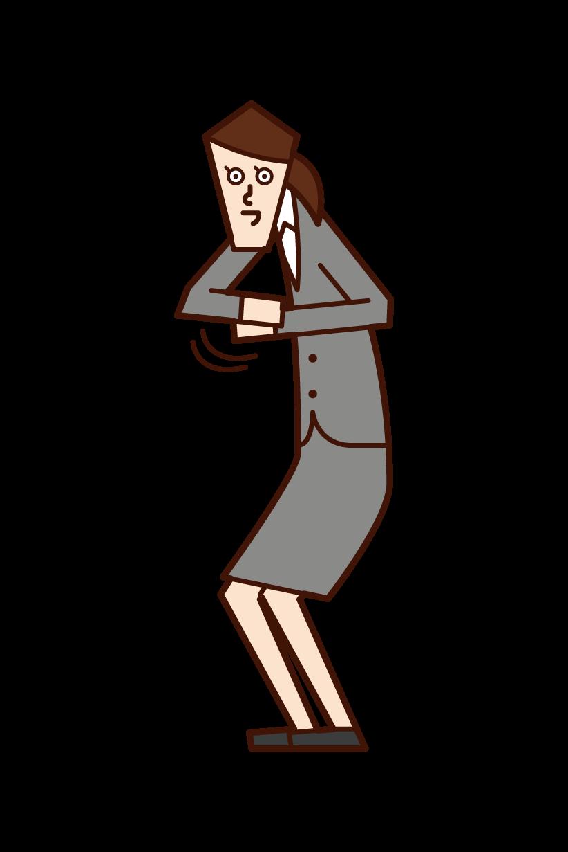 媚を売る人(女性)のイラスト