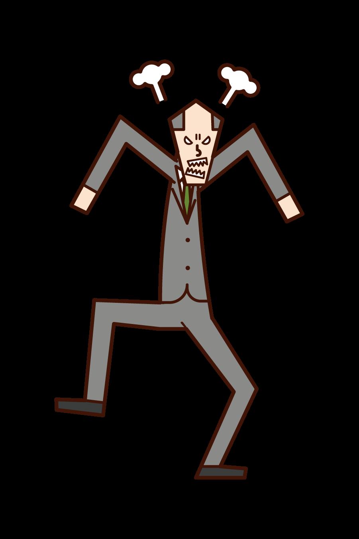 怒る上司(男性)のイラスト