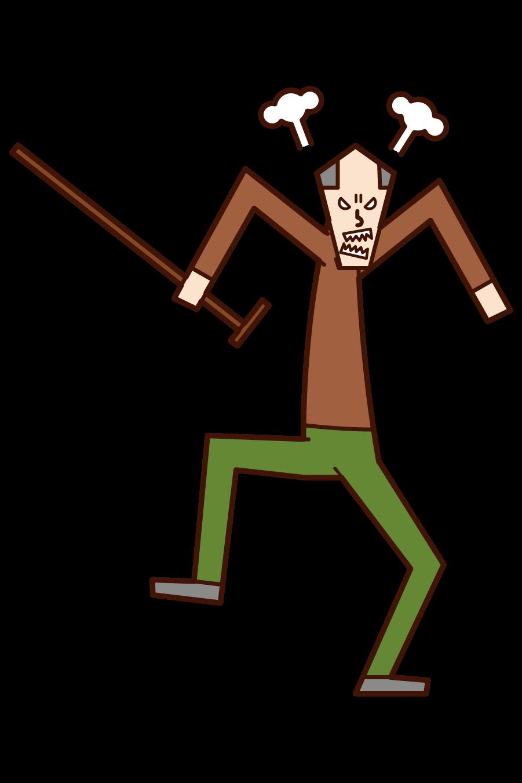 怒る老人(男性)のイラスト