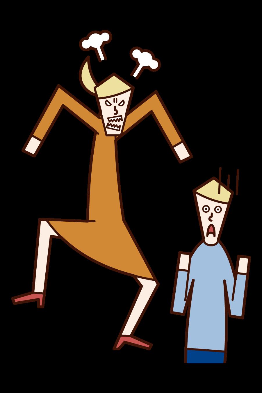 怒る人(女性)と怯える人(男性)のイラスト