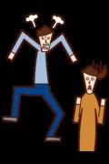 怒る人(男性)と怯える人(女性)のイラスト