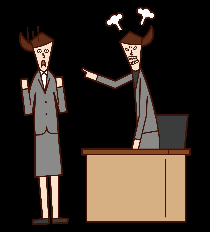 社長に叱責される人(女性)のイラスト