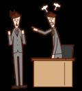 社長に叱責される人(男性)のイラスト