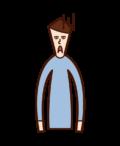 嫌そうな顔をする人(男性)のイラスト