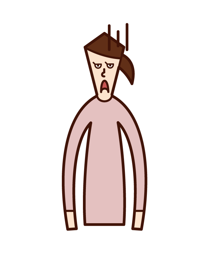 嫌そうな顔をする人(女性)のイラスト