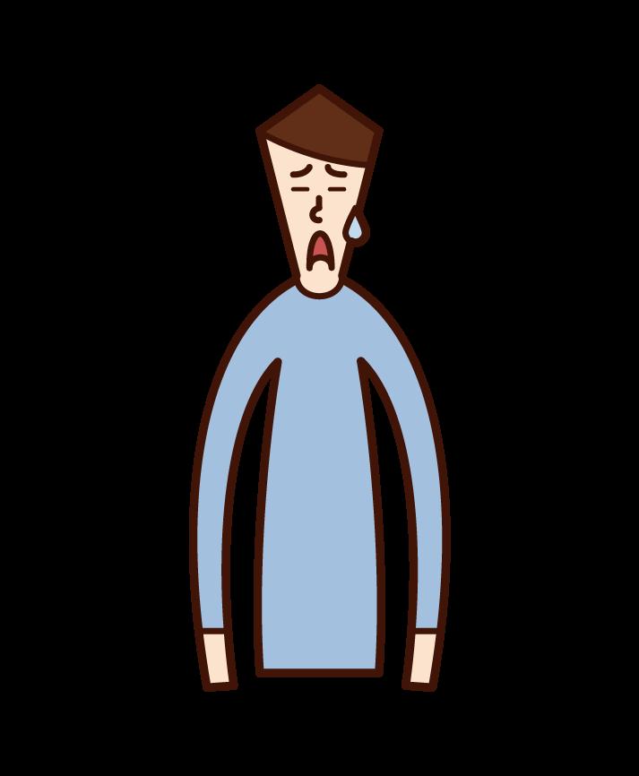 고민하는 얼굴을 가진 사람의 일러스트 (남성)