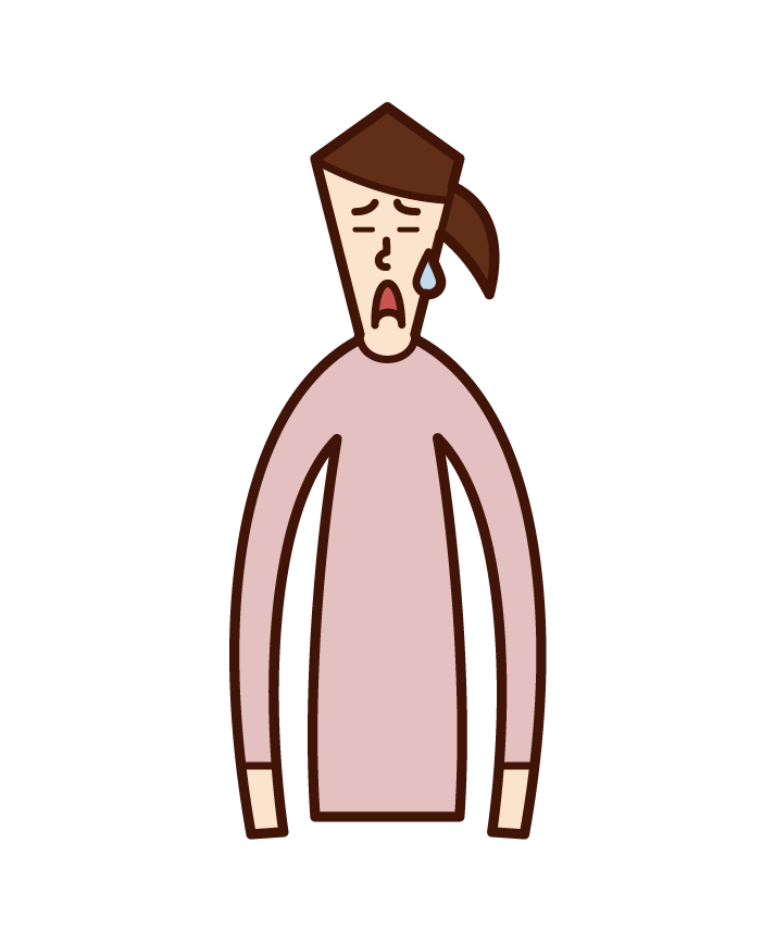 Illustration of a person (woman) with a troubled face