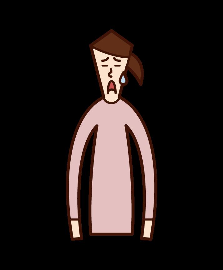困った顔の人(女性)のイラスト